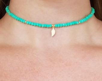 Green Chrysoprase Choker and Wrap Bracelet