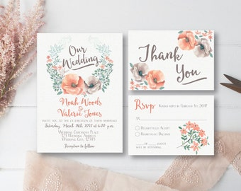 Floral Wedding Invitation, Peach Wedding, Wedding Invitation Printable, Thank You Printable, Wedding RSVP Card, Wedding Set
