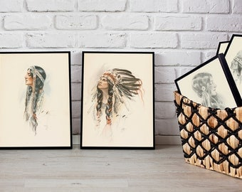 1906 - Collection of 55 Harrison Fisher Illustrations – The Song of Hiawatha - Instant Digital Download
