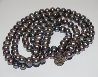 Vintage Sterling Silver Double Strand Freshwater Black Pearl ChokerNecklace.