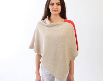 Summer poncho, Lightweight poncho, Cashmere blend poncho, Oatmeal color cape, Knitted cape, Cashmere lambswool viscose poncho,Summer poncho