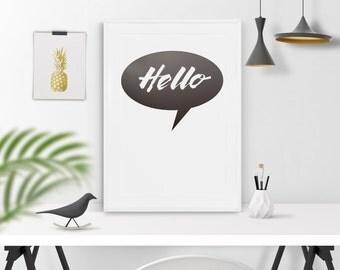 Hello poster. Instant download. Scandinavian poster. Scandinavian wall art. Quote poster. Hello affiche. Poster hello. Hello wall art.