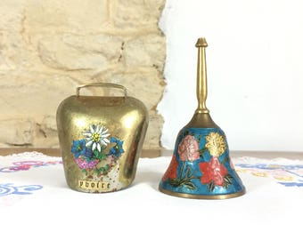 Two French Brass Bells. Vintage Painted Brass Handbell and Cowbell