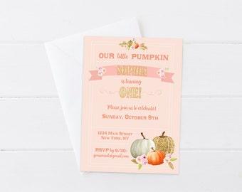 Little Pumpkin Birthday Invitation, Fall Pumpkin Birthday Invite, Peach Pink Floral Pumpkin Invite, 4x6 5x7- Printable Digital File