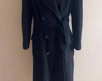 Vintage 40's Men's Camel Hair Coat Belted Black Double Breasted Pea Trench Large
