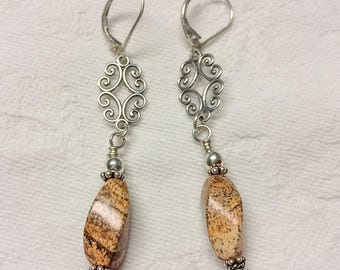 Jasper and Sterling Silver Earrings