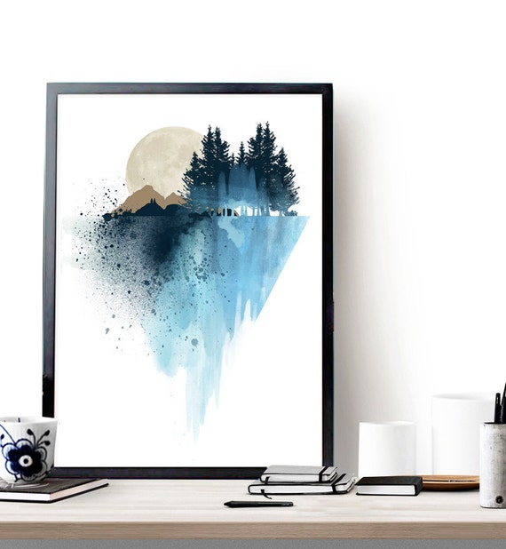 Blue Print Wall Decor : Blue mountain wall art print watercolor by whitedoeprints