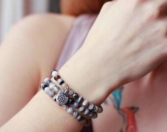 stacking bracelet lotus charm gray bracelet stack yoga bracelet gift for friend boho bracelet set of 3 bracelet stone agate inspiration