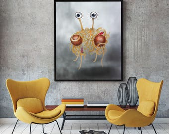 Flying Spaghetti Monster Painting, Original painting, Large Painting, Cute Painting , 24 x 36 inches , Pastafarian Painting
