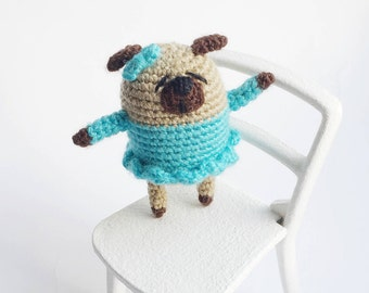 Dog in dress Miniature pug Crochet pug Amigurumi pug Crochet dog Blue dog Crochet puppy Pug dog Little pug Crochet animal Pug plush Pug doll