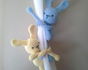 Bunny Curtain Tie Back, Crochet Bunny, Tie-Back Bunny, Curtain Tie-Backs, Nursery