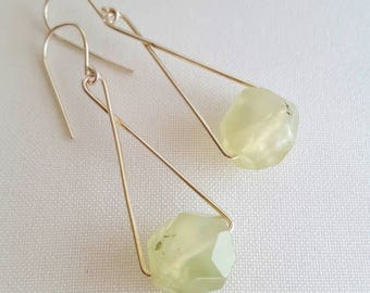 Sterling silver and prehnite drop earrings. Faceted prehnite. Pale green prehnite (grapestone). Made in Australia