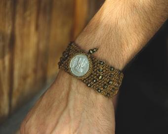 Indian Coin Bracelet - Tribal - Ethnic - Original - Boho - Gypsy - Ruppee - Travel - 3 Bengals Tigers - Symbol - Masala - Design - Spirit