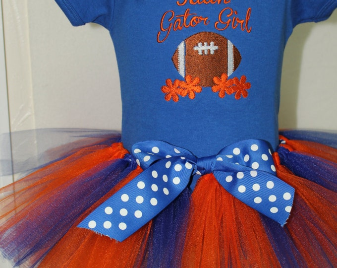 Personalized Florida Gator Girl outfit, Baby Gator, Blue Football bodysuit,UF,University of Florida,Orange and blue Gator tutu,Florida Gator