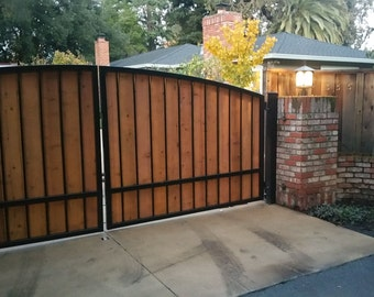 FREE SHIPPING - Custom Automatic Wrought Iron Redwood Swing Arched Driveway Gate Kit, Wooden Metal Steel Security Gates Kits For Driveways