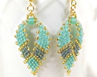 Seed Bead Earrings, Teal Russia Leaf Earrings, Beaded Earrings, Hippie Earrings, Gypsy Earrings, Bohemian Earrings, Peyote Earrings