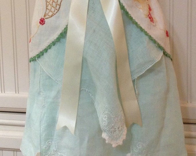 Featured listing image: Vintage half apron linen crochet napkin shabby chic Aqua green cream lace battenberg lace lined cream satin ties