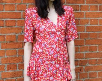 Vintage 80's Floral Rara Mini Dress Vintage Ruffle Dress Vintage Day Dress Floral Print 80s Summer Dress Medium Retro Women's Dresses