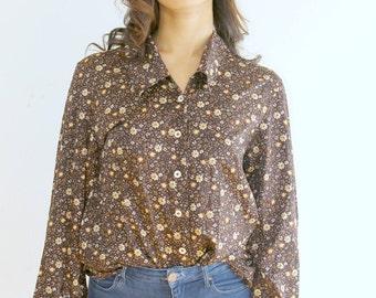 90's Brown Boho Vintage Shirt Retro 1990s Vintage Blouse Brown Hippie Shirt with Collar Longsleeved Women's Shirt Blouse