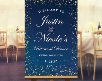 Rehearsal dinner sign, wedding welcome sign, chalkboard, starry, large wedding rehearsal dinner signs hashtag, pre-wedding printable DIGITAL