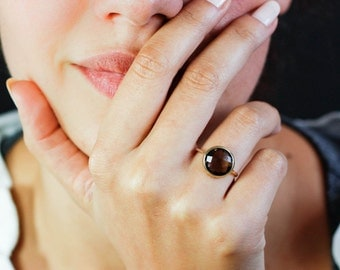 Smoky Quartz Ring, Smoky Quartz Gold Ring, 14K Solid Gold Ring, Brown Stone Ring, Brown Gemstone Ring, Solitaire Gold Ring, GR0230