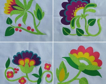 4 Jacobean Flower Machine Embroidered quilt blocks