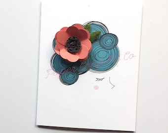 Blue hair girl with 3D flower card and green felt leaves/stationery/trendy/blue hair/floral
