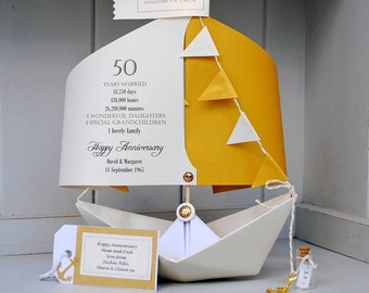 50th Golden Wedding Anniversary,  50th Anniversary Card, Paper Boat Card, Personalised 50th Anniversary Card