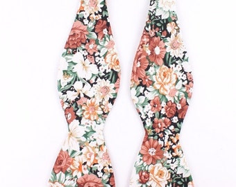 Peach Tea - Orange And Black - Self Tie Bow Tie| Flower | Self Tie | Bow Tie | Bowtie | Floral | Wedding | Groom | Gift | Ideas | for him