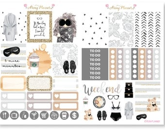 Monday Blues Weekly Sticker Kit for use with ERIN CONDREN LIFEPLANNER™, Happy Planner, Travelers Notebook etc