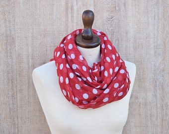 Red Infinity Scarf White Dots Wrap. Gift Cotton Dots Scarf Dots Shawl Scarf Comfort Shawl. Gift Ideas For Her Fashion Shawl