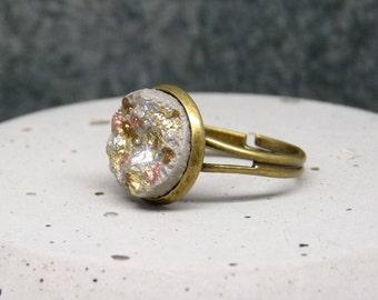 "Concrete ring ""Druze"" multicolor No.2 vintage-bronze - Silver - gift -."