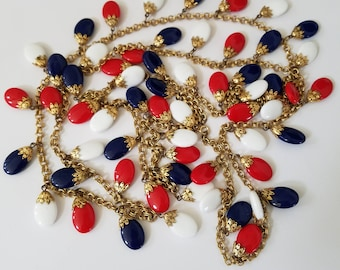 Stunning Multi Strand,  Fourth of July Jewelry, Extra Long Necklace, Red white and blue beaded necklace , Independence Day Perfect!