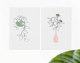 2 cards set hanging plant and flowers, postcards plants, botanical interior cards, vase of flowers greeting cards, urban jungle gift cards