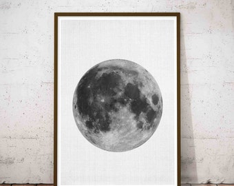 Moon Phase, Minimalist Large Art, Lunar Phases Poster, Moon Phase Wall Art, Modern Farmhouse Art, Extreme Minimalism, Full Moon Art Print