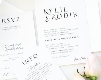 Lila Black and Gold Elegant Wedding Invitation Sets, Modern Calligraphy Invitations, Printable Wedding Invitations or Printed