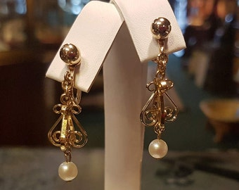 Very Vintage Van Dell Designer 1/20 12k GF Chandelier Pearl Earrings
