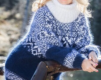 Fair Isle Mohair Sweater Icelandic Sweater Fuzzy Turtleneck Pullover Nordic Sweater Hand Knit Sweater by TanglesCreations