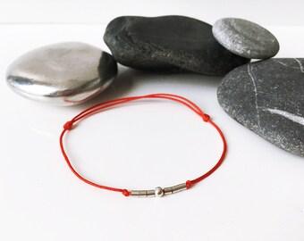 7 chakras RED yarn Bracelet Friendship Bracelet 7 pearls 925 Sterling silver Yoga Meditation Zen bracelet RED cord bracelet Love seven beads
