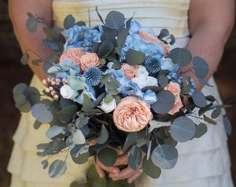 Peach and Blue Bouquet, Spring Bouquet, Pink and Blue Bouquet, Boho Bouquet, Dried Bouquet, Preserved Bouquet, Summer Bouquet
