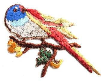 Antique Bird Applique 1930s  Embroidered Bird with Flowers applique. Sewing supply.  #6A7GB8KF
