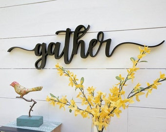 "Up to 42"" Gather word cutout, wooden letters gather sign, Gather cutout,"