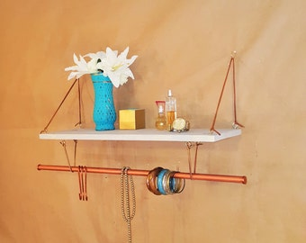 SALE Bathroom wall organizer reclaimed wood copper towel rack  suspended shelf-bathroom hook & fixture-floating shelf-jewelry wall organizer