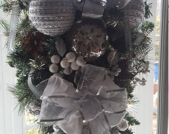 Christmas Swag, Christmas Wreath, Silver and White Swag, Silver and White Wreath, Holiday Swag, Winter Swag, Evergreen Swag