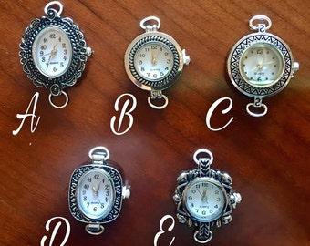 Silver 2 Loop Watch Faces for Interchangeable Watch Bracelet