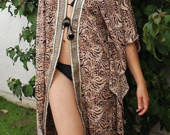 Sale kaftan, long beach coverup, Beach Cover ups, swimsuit Coverups,Animal print,Handmade,tunic,Honeymoon, Vacation, cruise, black, kimono