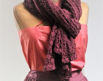 Large Scarf / Stole / Vintage Shawl - Hand crocheted in France - Color Bordeaux