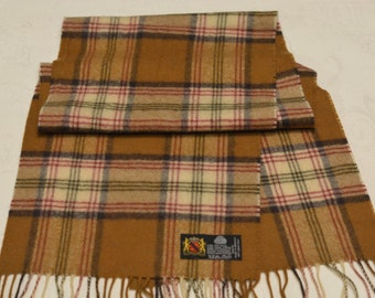 Vintage Very soft Brown Ivory Plaid Pure New Wool scarf. Made in Germany