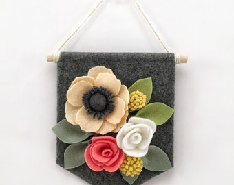 "Mini Felt Floral Banner | ""Apricot & Coral"" 