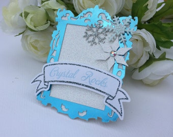 4 snowflake food labels, winter theme party, winter wonderland tent cards, ice princess party